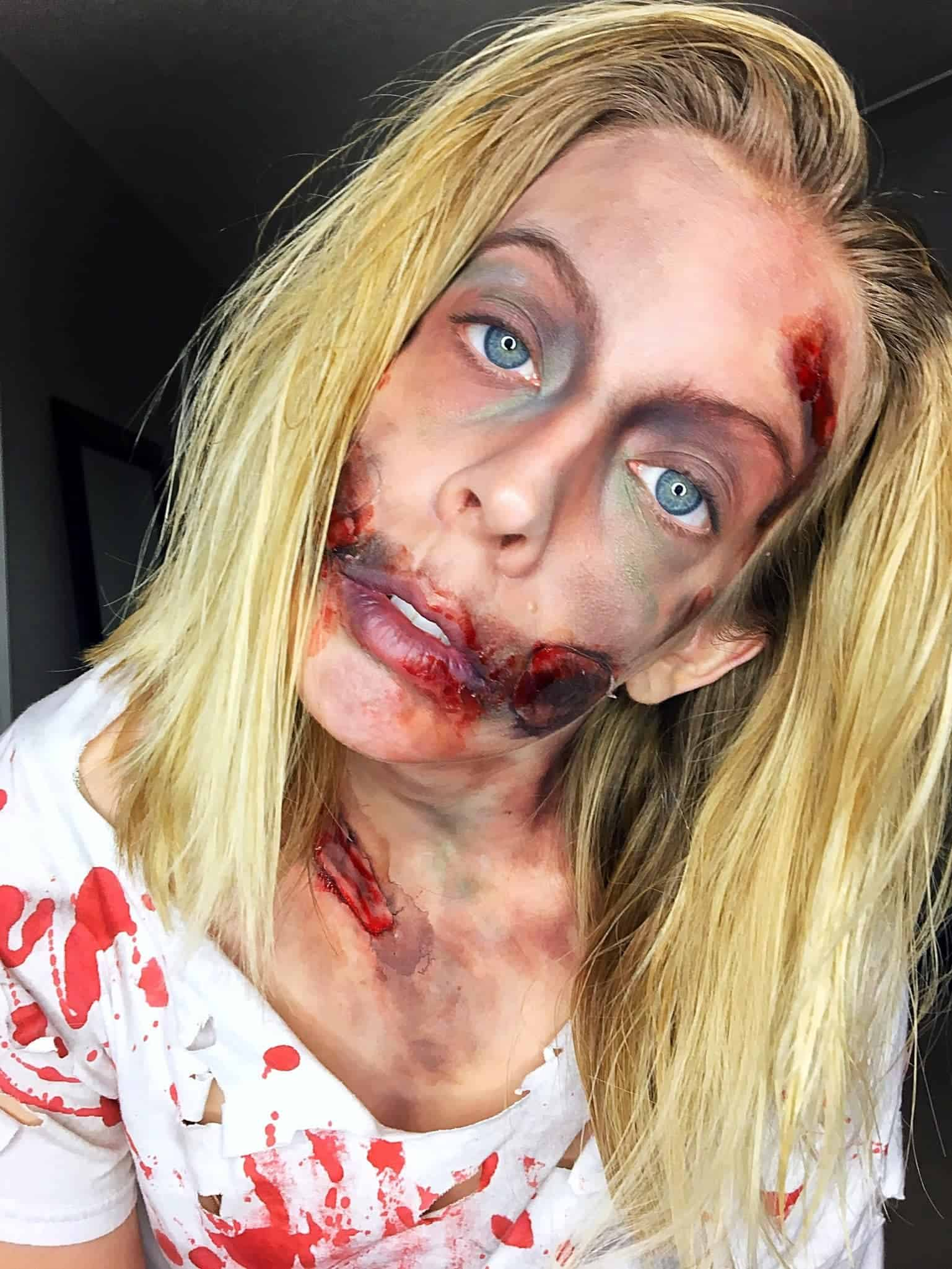 Looking for an awesome last minute DIY halloween costume idea? Check out this easy zombie makeup and zombie costume tutorial where I show you step-by-step how to dress up the whole family like zombies! #halloween #halloweenmakeup #halloweencostume #zombie