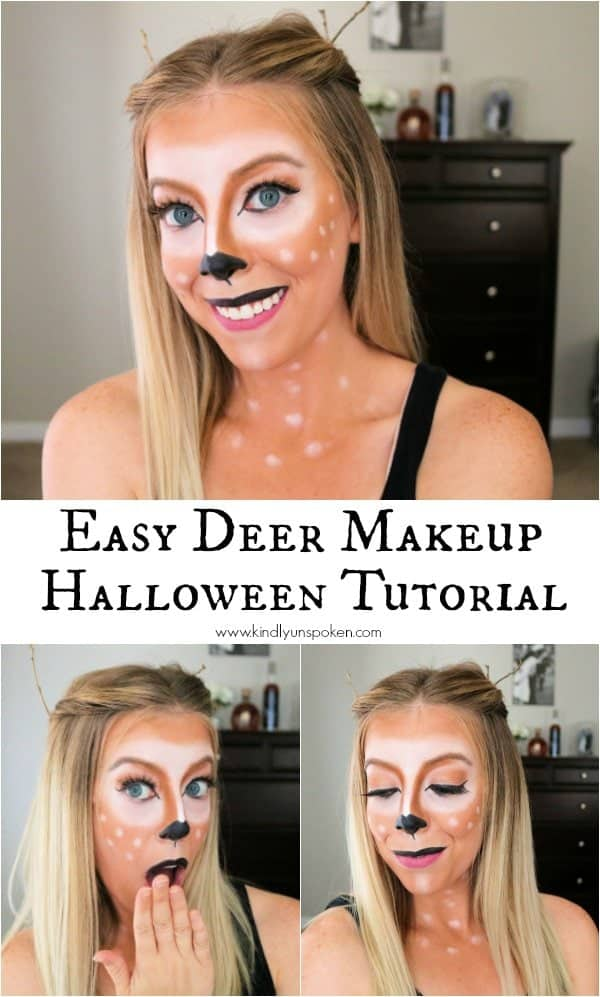 Looking for girly Halloween makeup ideas and the perfect Halloween costume? Then check out my beautiful and easy deer makeup tutorial that uses affordable drugstore makeup products from Physicians Formula that you'll love to use even after Halloween. My step by step tutorial will show you how easy it is to create this simple deer makeup look and you'll look fabulous for your next Halloween costume party wearing this deer makeup! #ad #physiciansformula #halloweenmakeup #deermakeup