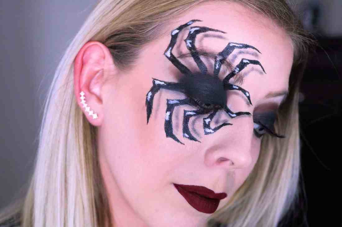 This Spooky Spider Makeup Halloween Look has to be my most favorite halloween makeup look yet! Check out the post for step-by-step details on how to get this fun 3D spider makeup look and all the makeup products I used! #halloweenmakeup #spidermakeup #makeuptutorial
