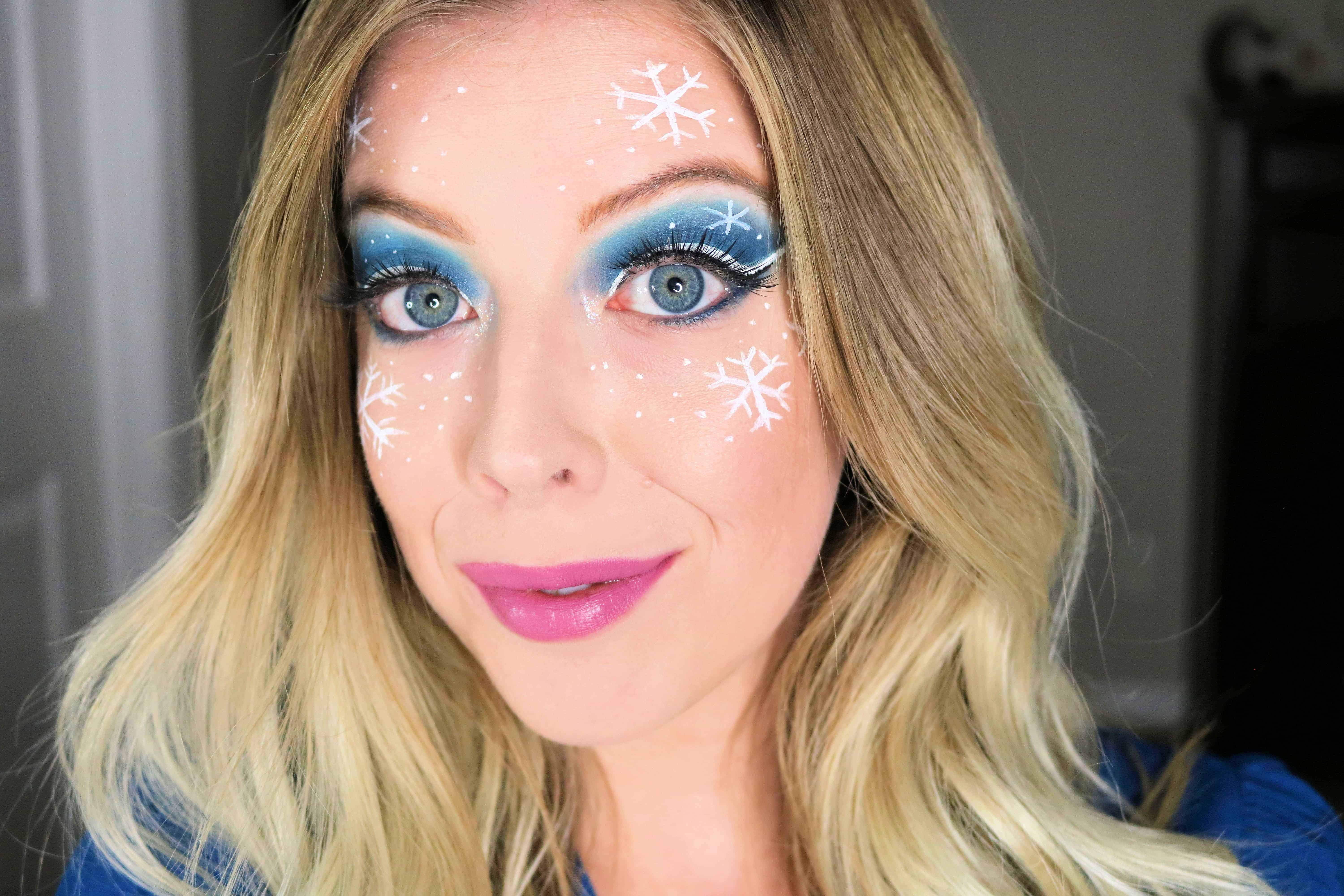 Want to look like a snow queen or ice princess? Then check out this fun + gorgeous ice princess winter snowflakes makeup look that is perfect for holiday parties! #snowflakes #iceprincess #snowqueen #wintermakeup