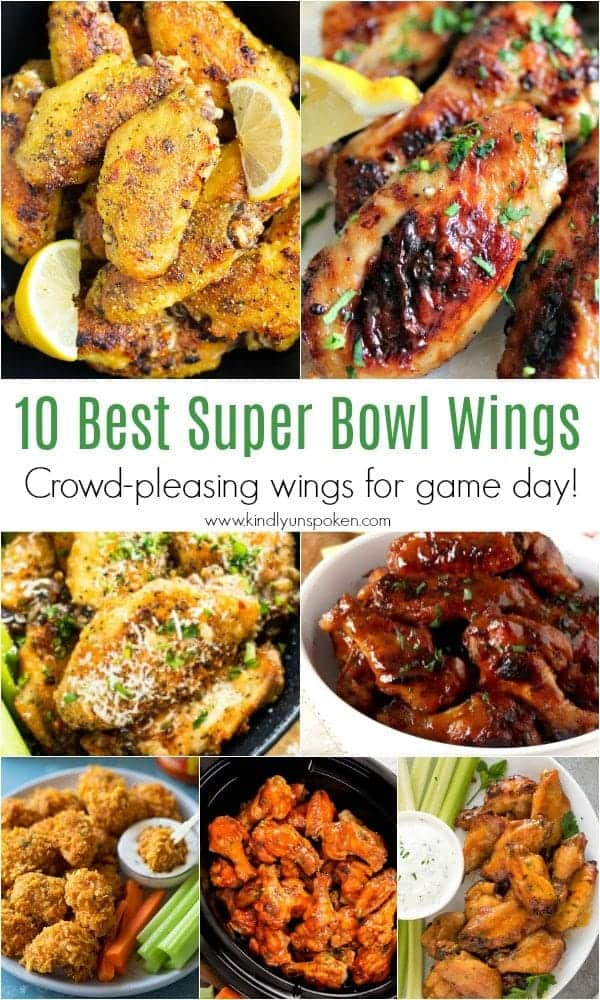 10 Best Super Bowl Wings | Need food recipe ideas that everyone will love to eat at your next Super Bowl party? Check out my roundup of the 65 Best Super Bowl Party Food Recipes including easy and delicious appetizers, wings, dips, snacks, desserts, and more! #superbowl #partyfood #superbowlfood