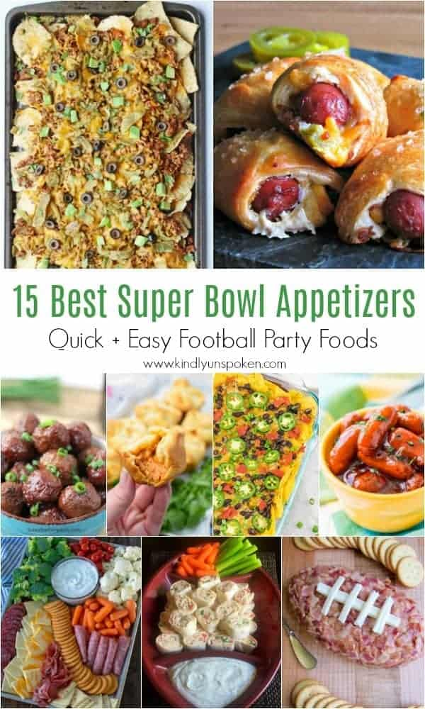 15 Best Super Bowl Appetizers - Need food recipe ideas that everyone will love to eat at your next Super Bowl party? Check out my roundup of the 65 Best Super Bowl Party Food Recipes including easy and delicious appetizers, wings, dips, snacks, desserts, and more! #superbowl #partyfood #superbowlfood