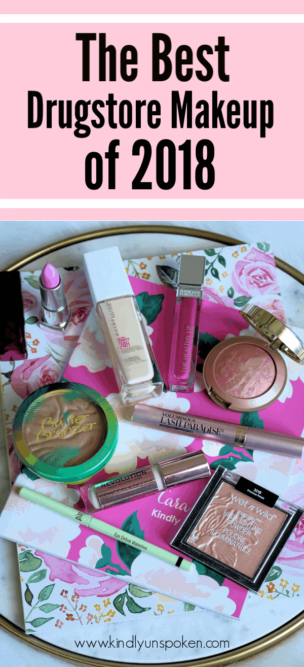It's time for my favorite affordable makeup roundup of the year! Check out The Best Drugstore Makeup of 2018, including the best drugstore foundation, lipstick, concealer, mascara, primer, highlighter, eyeliner, bronzer, blush and more! It's full of amazing drugstore makeup must-haves and dupes that you'll want to try ASAP! #drugstoremakeup #affordablemakeup #bestofbeauty #drugstoredupes