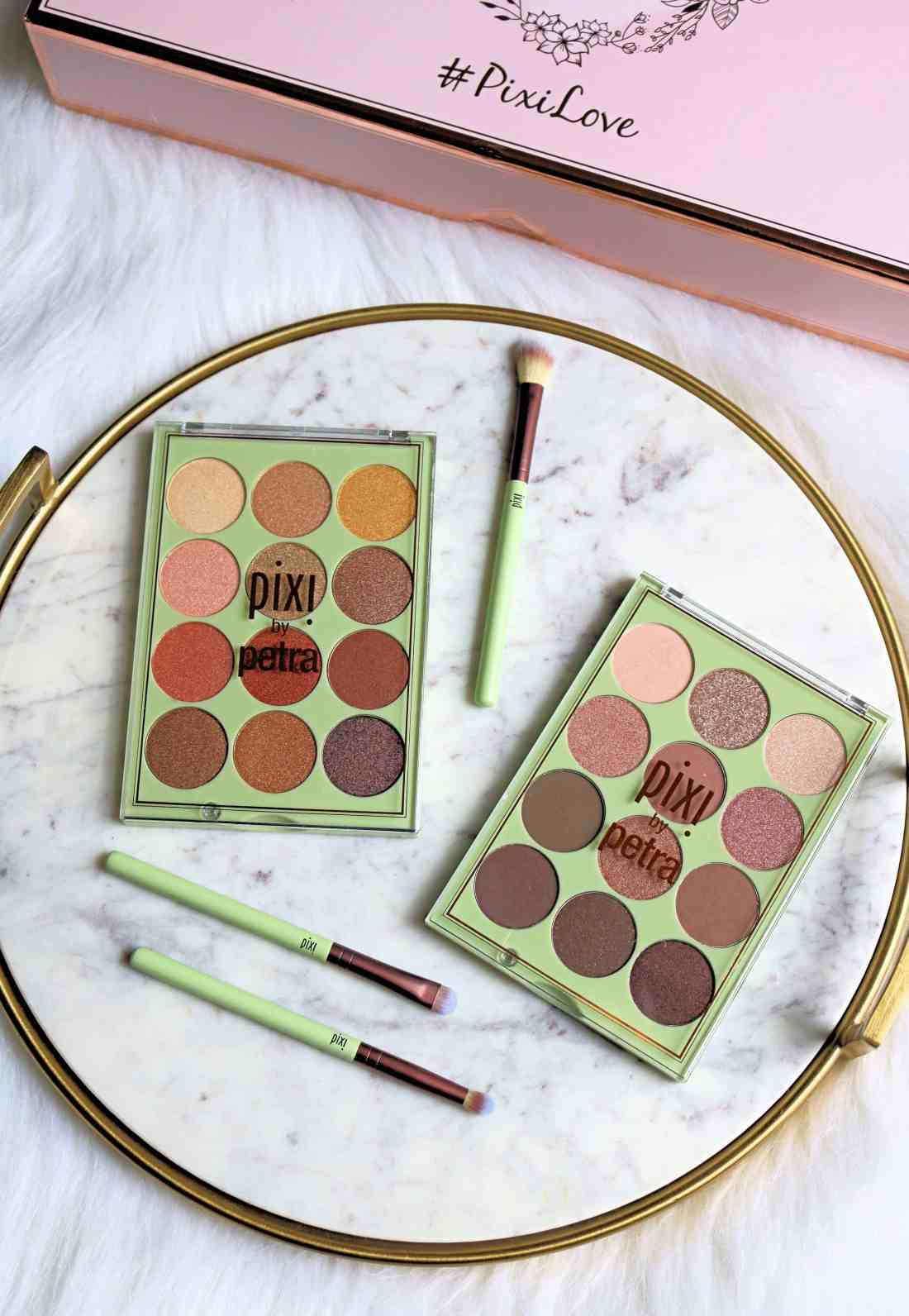 The newest Pixi eyeshadow palettes are just as gorgeous as you'd imagine them to be! Check out my full review of these affordable Pixi Beauty eyeshadow palettes with swatches of all 24 shades. #pixi #pixibeauty #pixibypetra #eyeshadowpalettes