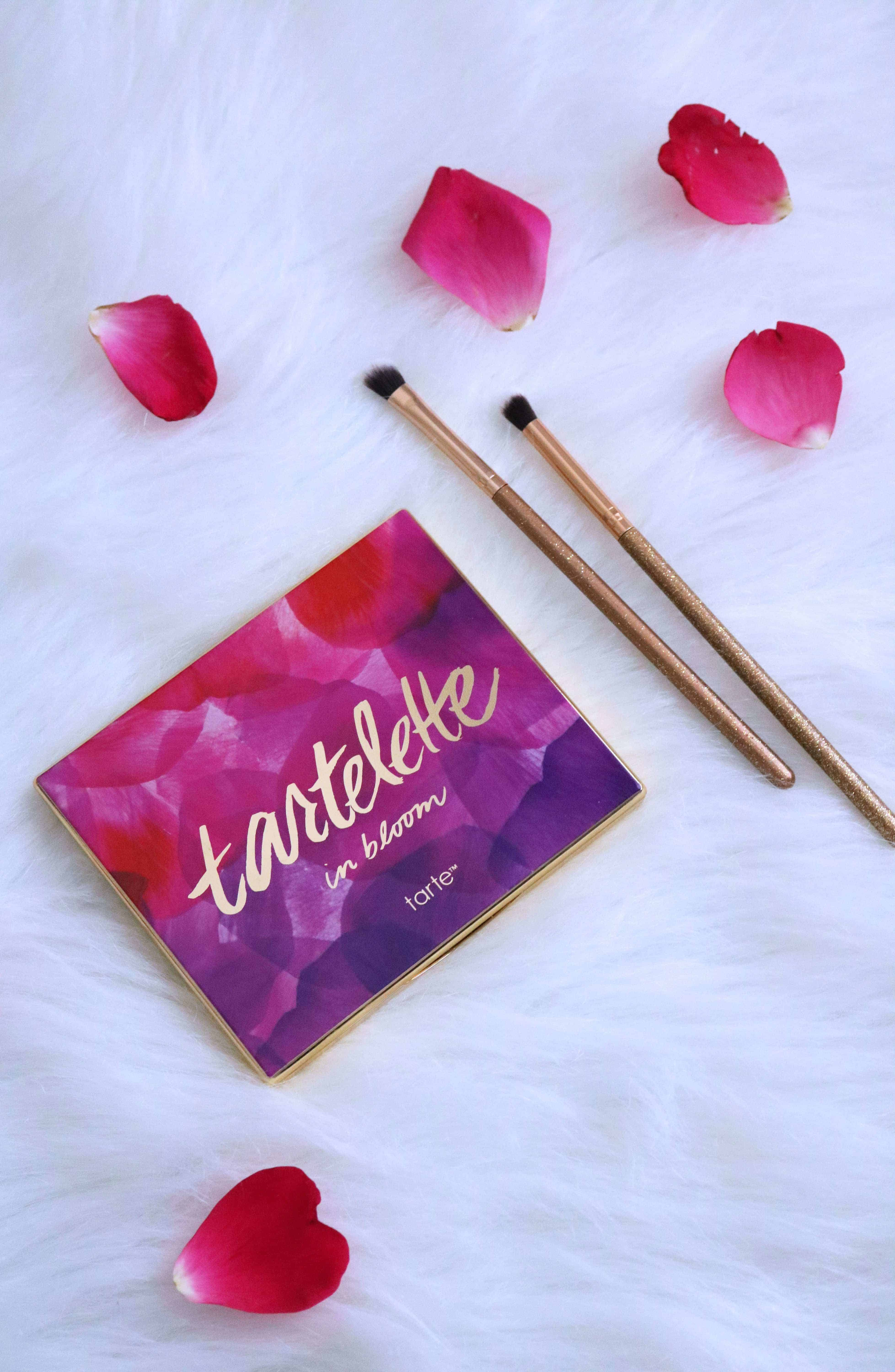 The Tarte Tartelette In Bloom Palette is seriously the only eyeshadow palette you'll need in your makeup collection! Check out my full review, swatches of all 12 shades, and a simple + pretty eye makeup look I created! #tarte #eyeshadowpalette #makeupreview