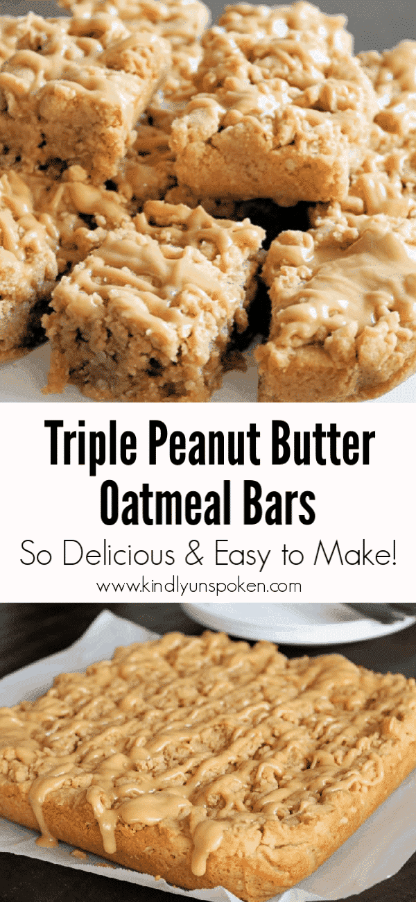 #ad These Triple Peanut Butter Oatmeal Bars are thick, soft, delicious, and full of an irresistible peanut butter flavor you can't resist! Even better these peanut butter bars use only simple ingredients and bake in less than 30 minutes! http://bit.ly/2wdW59n #HowDoYouPB #dessert #peanutbutterbars