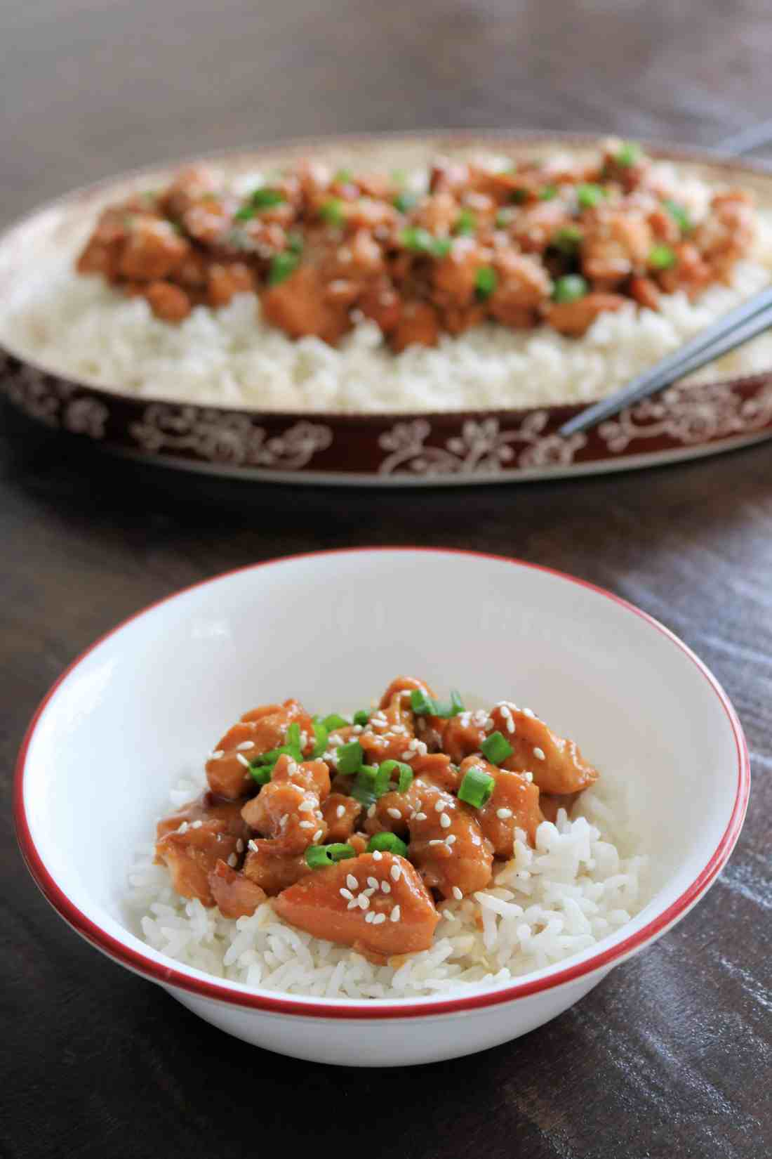 Try my healthy and delicious slow cooker honey sesame chicken for an easy weeknight meal! It only takes 2 hours in the crockpot and tastes even better than takeout! #chicken #chickenrecipe #dinner