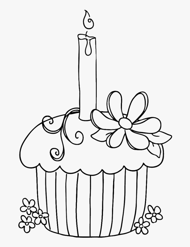 Coloring Clipart Cupcake - Birthday Coloring Pages Free, HD Png