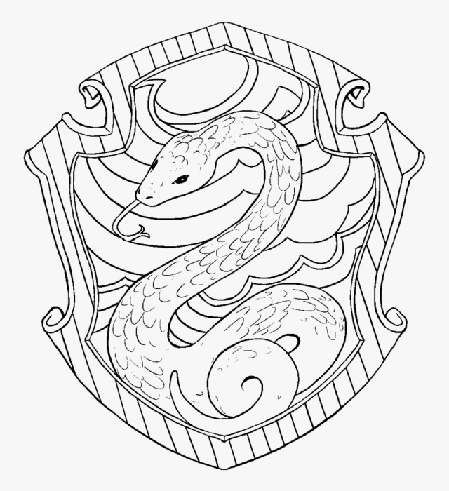 Transparent Hedwig Png - Slytherin Harry Potter Coloring Pages
