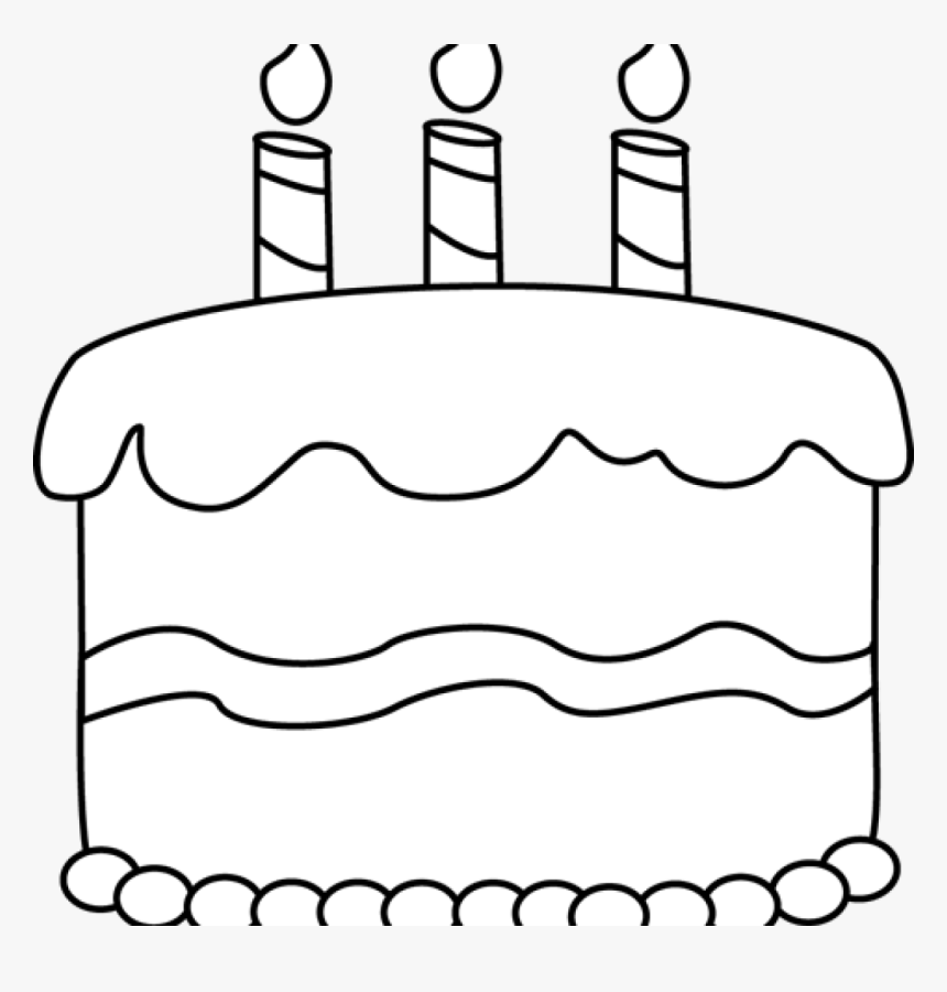 Birthday Clipart Black And White Free Black And White Cake Clipart Outline Hd Png Download Kindpng