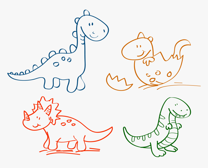 Clip Art Dinosaur Drawing Pictures Drawn Dinosaur Clipart Easy Hd Png Download Kindpng