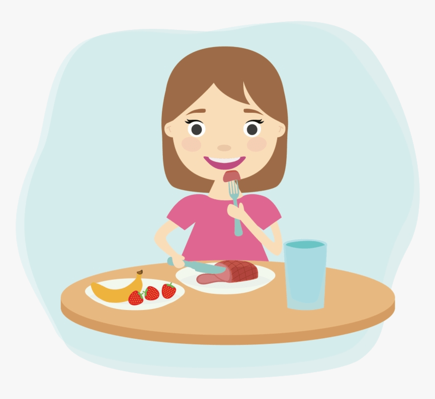 Eating Breakfast Child Clip Art Healthy Foods Clipart Girl Eating Breakfast Clipart Hd Png Download Kindpng