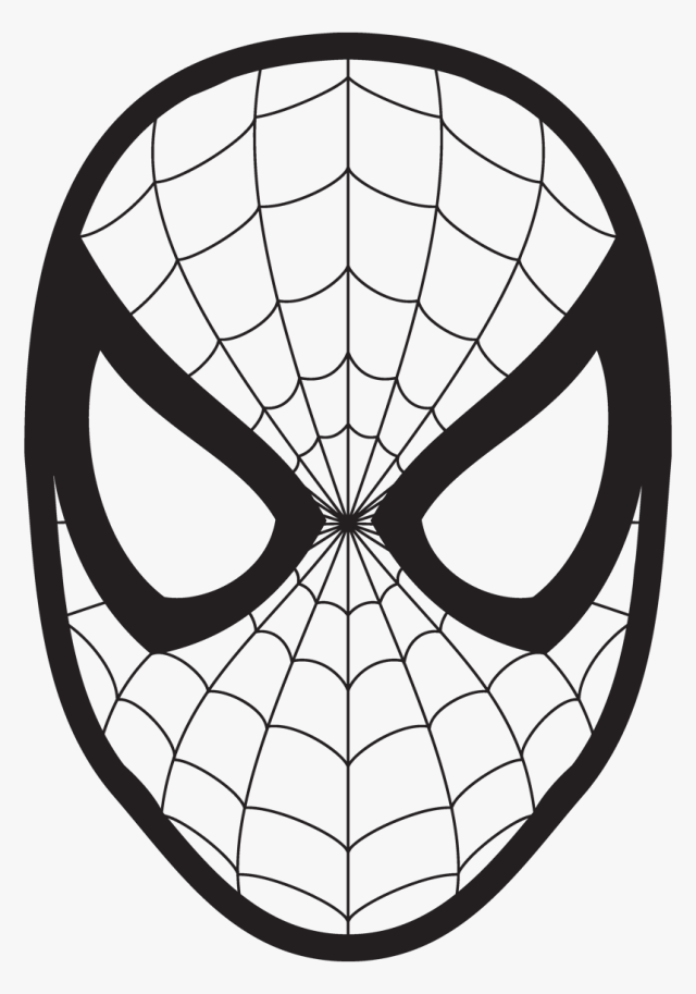 Spider Man Drawing Face Coloring Book Clip Art - Spiderman Face