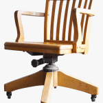 Vintage Wooden Swivel Rolling Desk Chair Chairish White Office Chair Hd Png Download Kindpng