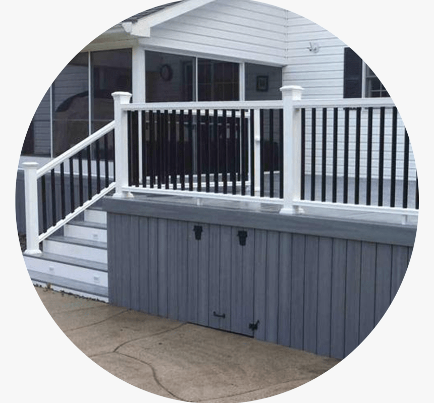 Grey Deck With White And Black Railings Grey Deck With Black | White Railing Black Spindles | Porch | Iron Balusters | Wrought Iron | Porch Railing | Trex Deck