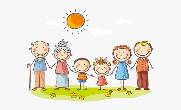 Happy Family Clipart Cartoon Family With Grandparents Drawing Hd Png Download Kindpng