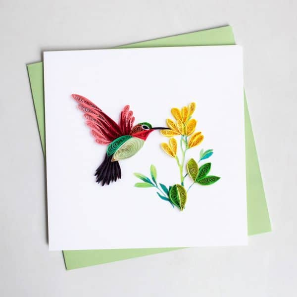 CARD QUILLING HUMMINGBIRD FLOWER