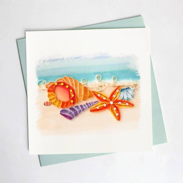 CARD QUILLING SEASHELLS BEACH