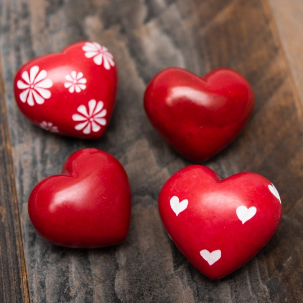 RED SOAPSTONE HEARTS – ASSORTED DESIGNS