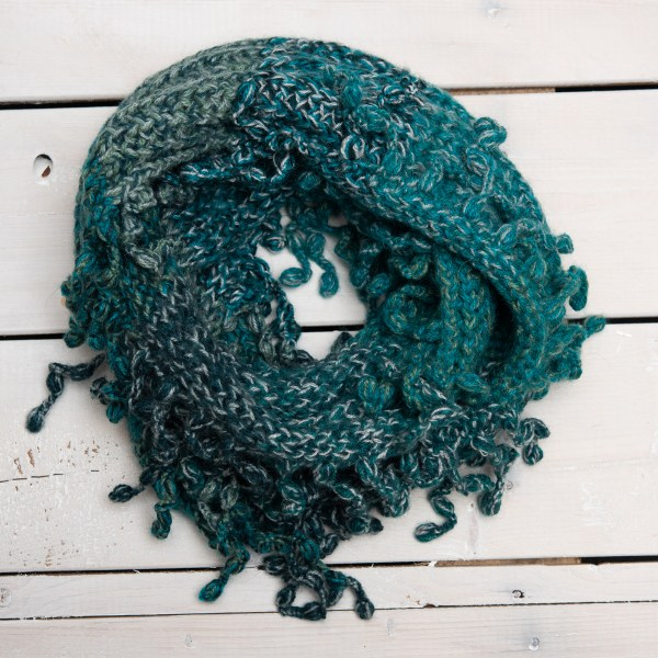 KNIT FRINGED INFINITY SCARF