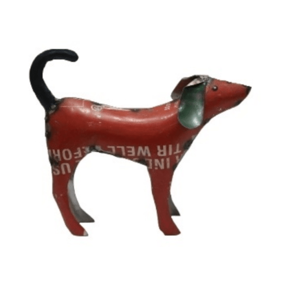 RECYCLED METAL DOG RED