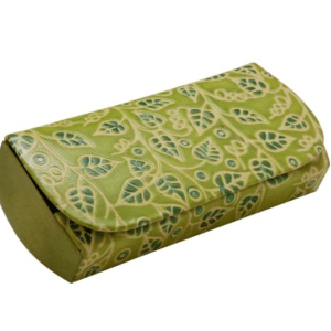 LEATHER EYEGLASSES CASE GREEN LEAVES