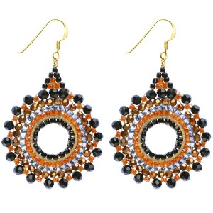 Beaded Starburst Earrings – Orange