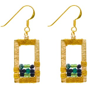 Brass Window Earrings – Green