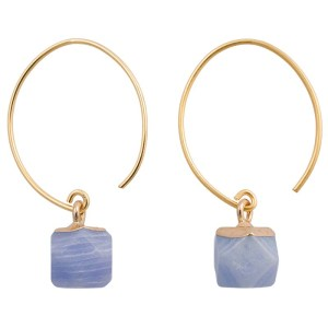 Brass & Stone Hoop Earrings – Blue
