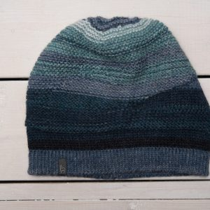 KNIT BEANIE WITH BLUE STRIPES