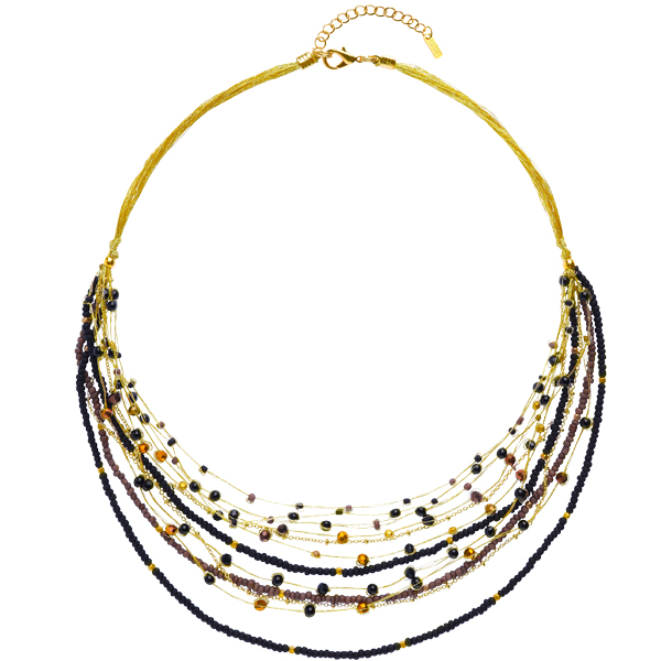 Layered Beaded Necklace – Black