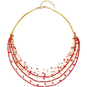 Layered Beaded Necklace – Red