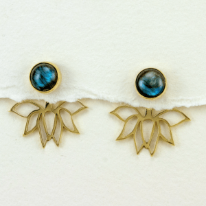 Moonstone Lotus Post Earrings