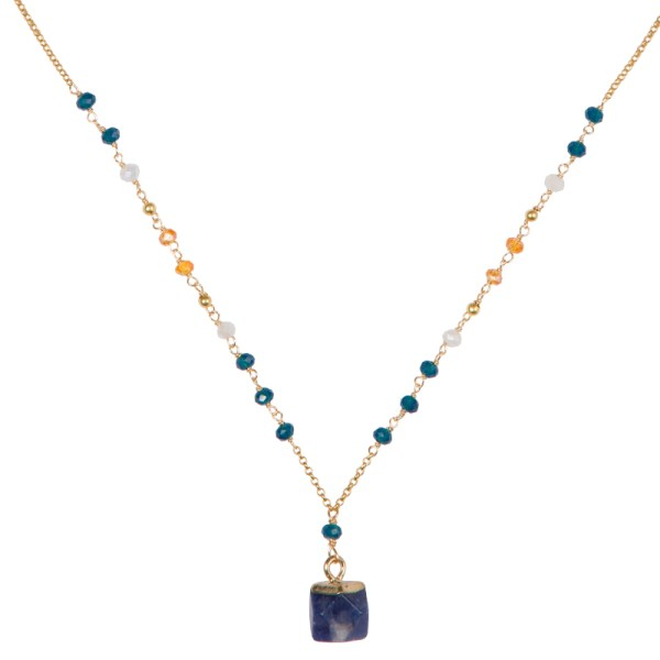 Tumbled Stone Necklace – Blue