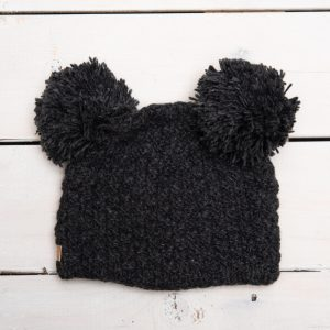 KIDS BEANIE WITH DOUBLE POM POM