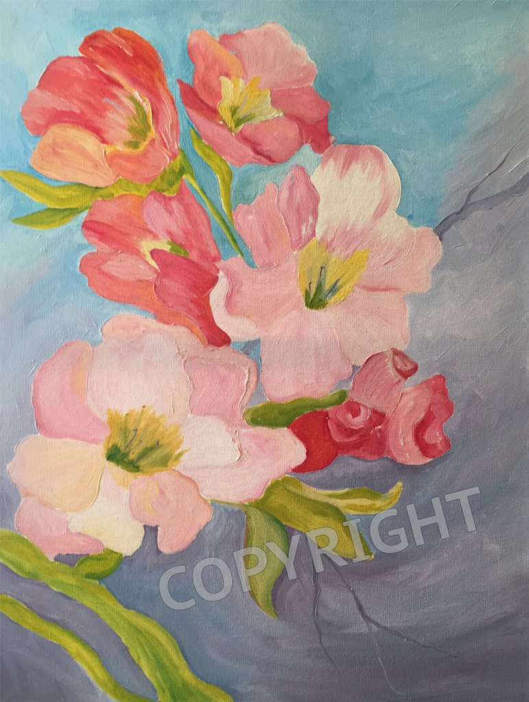 pink-salmon-flowers-oil-painting-carol-artis