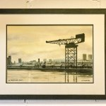 Painting of The Finnieston Crane by DC Ferguson, 1985.