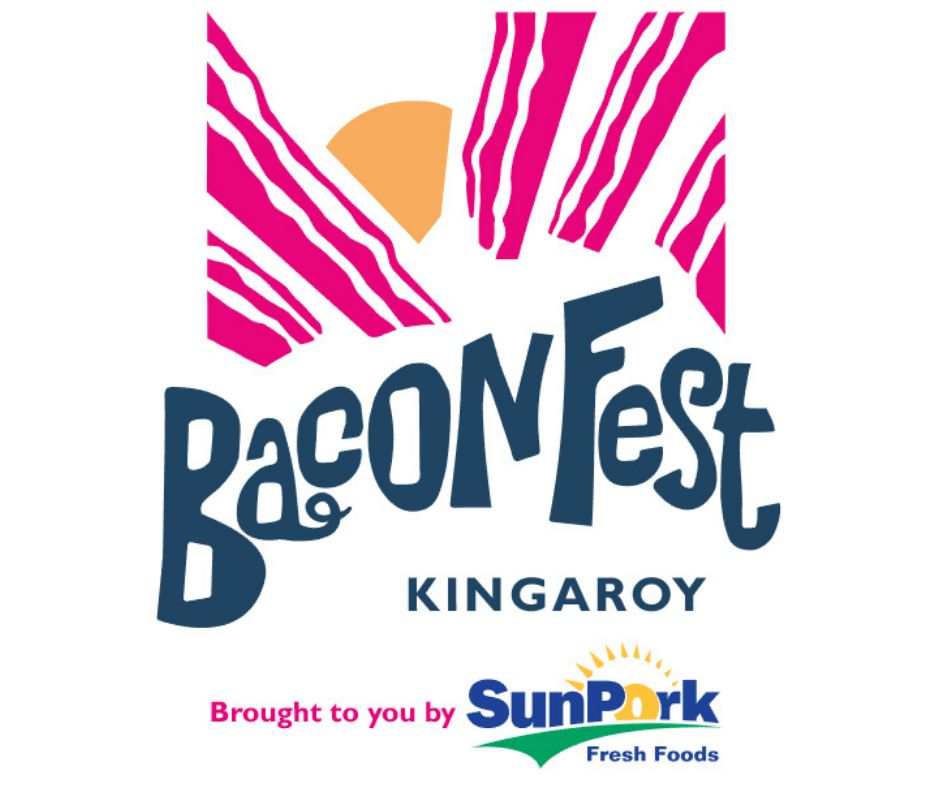 Kingaroy BaconFest logo. A QLD Food Festival that's brought to you by SunPork
