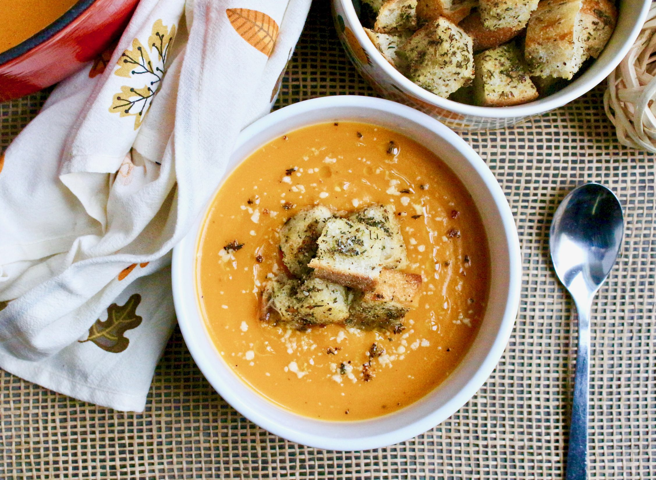 Butternut Squash Soup with Herb Croutons Recipe