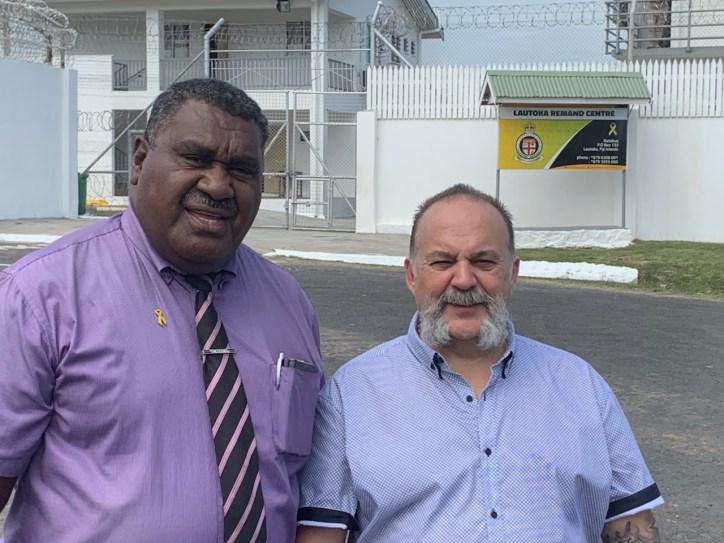 Ministering at the Men's Prison with Talatala Paula, Lautoka, Fiji 2019