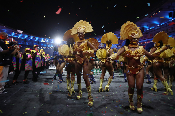 Samba dancers perform during the Opening Ceremony of the Rio 2016 Olympic Games at Maracana Stadium on August 5, 2016 in Rio de Janeiro, Brazil. (Photo by Cameron Spencer/Getty Images)
