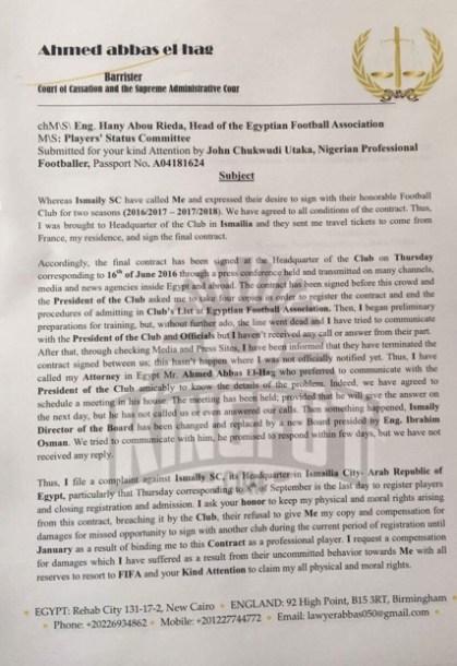 Utaka's complaint to FIFA