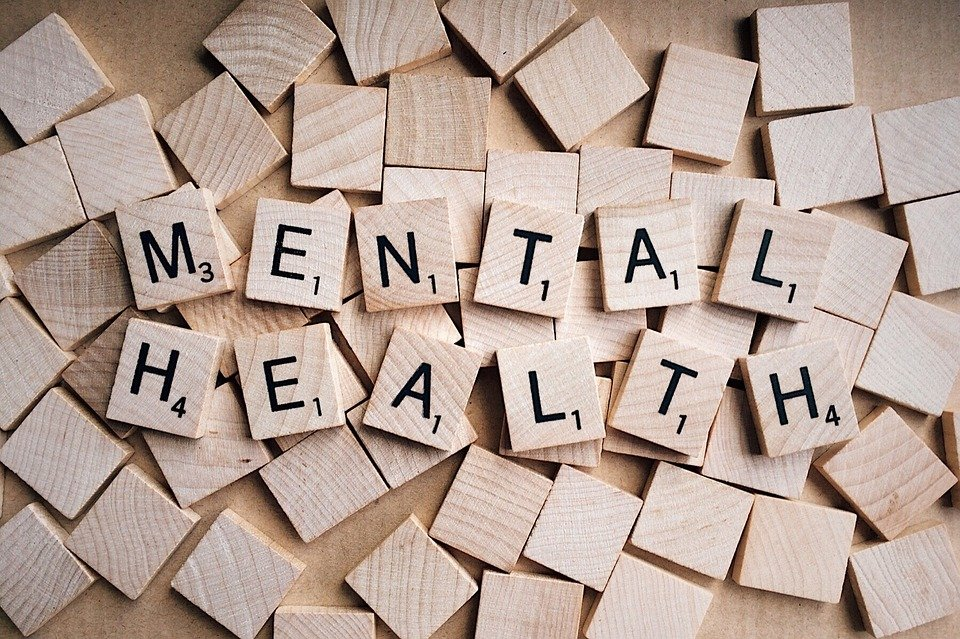 Picture with the words, mental health