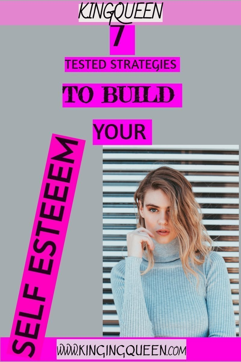 photo of lady with words 7 strategies for building your low self esteem