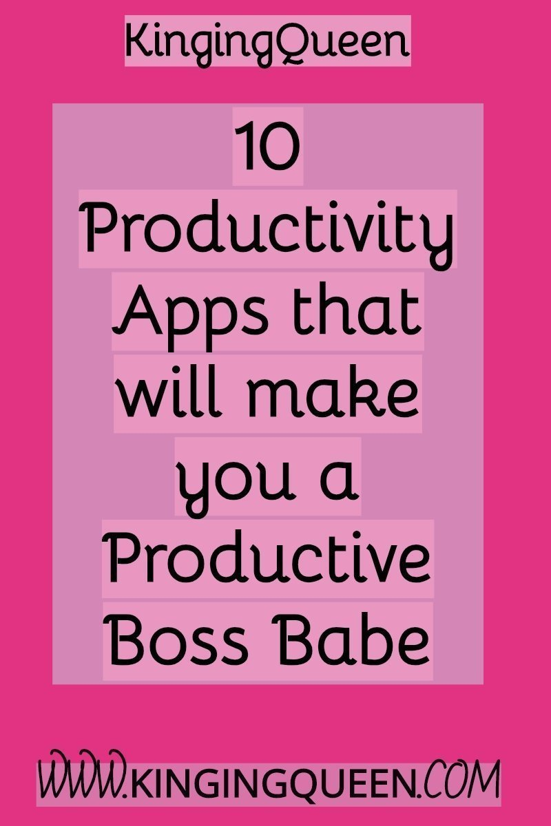 graphic with words 10 productivity apps