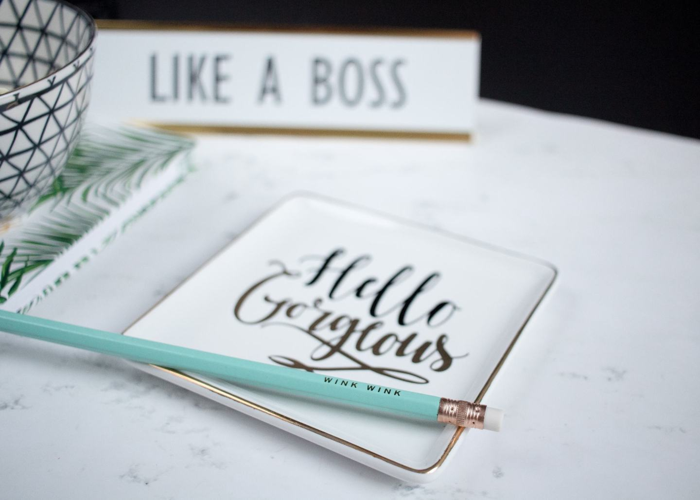 A graphic of like a boss affirmations on a white background