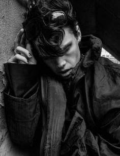 Coat - Max Strollo   Blazer (underneath) - Logan Combs   Sunglasses - Dolce & Gabbana   Necklace - Monika Chang   Nose Ring - Stylist Studio   Ring - Model's own