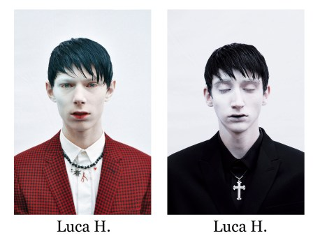(left) Luca Heintz - Blazer, shirt and necklace - DIOR HOMME | (right) Luca Hermann - Blazer and shirt - DIOR HOMME | Necklace - stylist's own