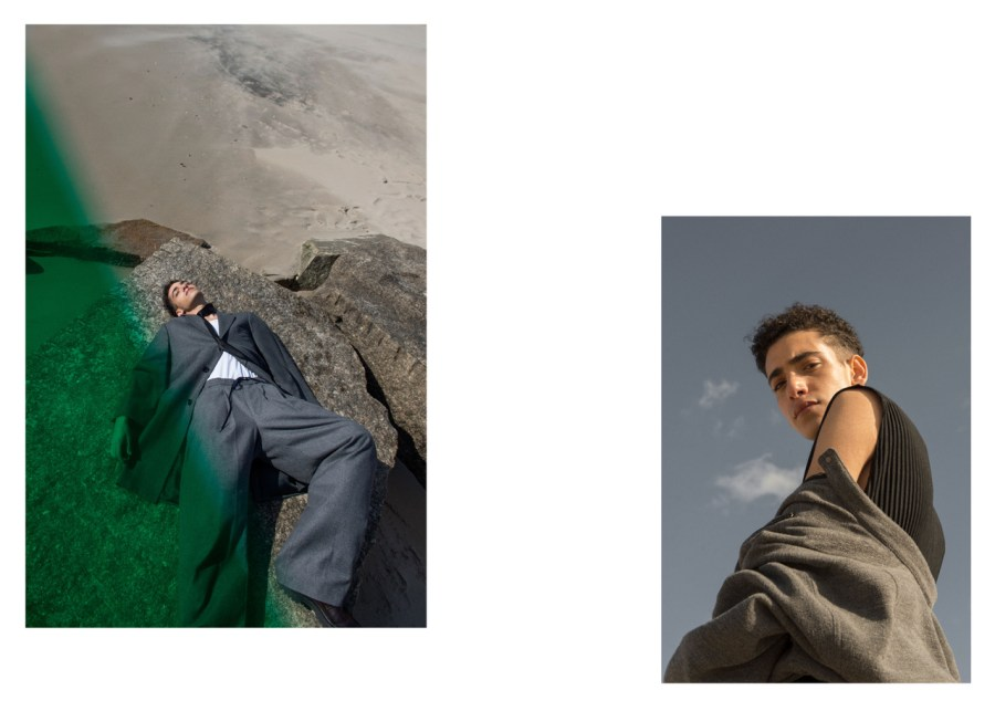 (left) Scarf - Fingers Crossed | Coat - Duckie Brown | Shirt - COS | Trousers - Fingers Crossed | Shoes - Stylist's own | (right) Jumpsuit - Homme Plissé Issey Miyake | Jacket - Issey Miyake
