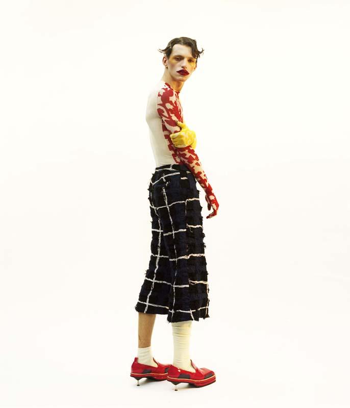 Coloured Glove Top - Ma Ming Textured Trousers - Xu Zhi Heeled Shoes - Sanan Gasanov